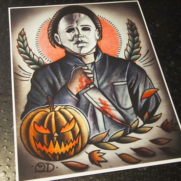 Michael Myers Tattoo Art Print