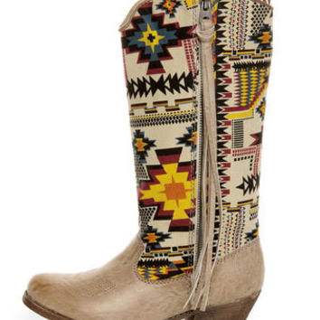 Big Buddha Wayne Natural Multi Southwest Print Cowboy Boots - $87.00