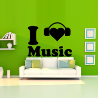 Wall decal decor decals sticker art vnyl design love inscription sound music headphones club bedroom play lounge head room (m1218)