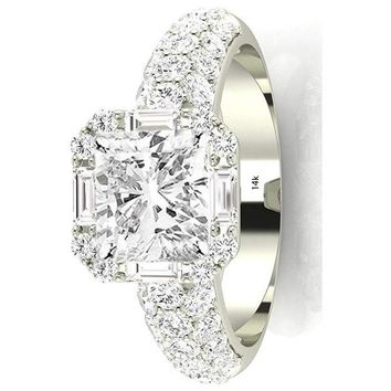.2.8 Ctw 14K White Gold GIA Certified Cushion Cut Designer Popular Halo Style Baguette and Pave Set Round Diamond Engagement Ring, 2 Ct G-H VS1-VS2 Center