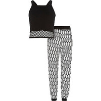 River Island Girls black mesh top and joggers outfit