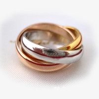 Rose Gold, Gold, and Silver Interlocking Ring-Size 6