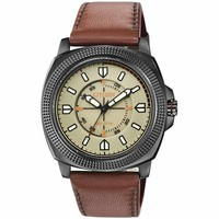 Citizen BJ6477-04X Men's CTO Eco-Drive Sport Beige Dial Grey IP Steel Dark Brown Leather Strap Watch