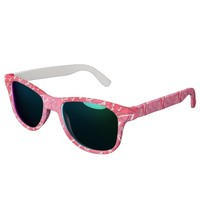 White and Black Zigzags on Pink Sunglasses
