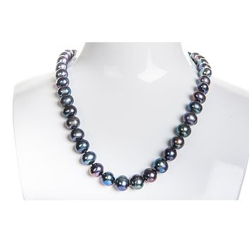 Single Strand Peacock Freshwater Pearl Necklace 9-10mm