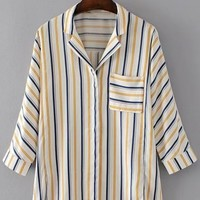 Casual Vertical Striped High Low Shirt with Pocket - NOVASHE.com
