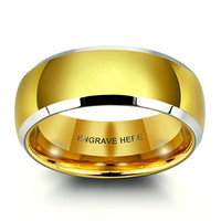 Personalized Engraved 8mm Width Gold Titanium Steel Ring Fashion Men Rings