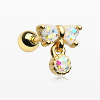 Golden Sparkle Dangle Bow-Tie Cartilage Tragus Barbell