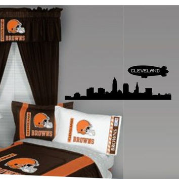 Cleveland City Skyline with Blimp  Decal Sticker Wall