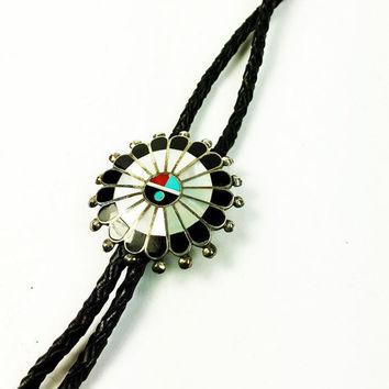 Vintage Zuni Sunface Bolo Slide and Black Leather Tie - Native American Sunface Bolo Slide