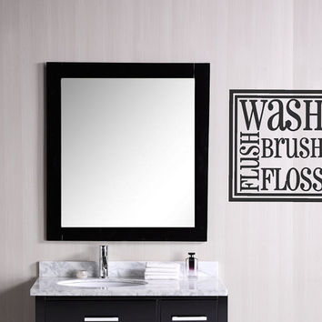Wash Brush Floss Flush Decal Sticker  / Wall Decal / Wall Quote