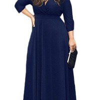 VIISHOW Women's Solid V-Neck 3/4 Sleeve Plus Size Evening Party Maxi Dress(3X, Red)