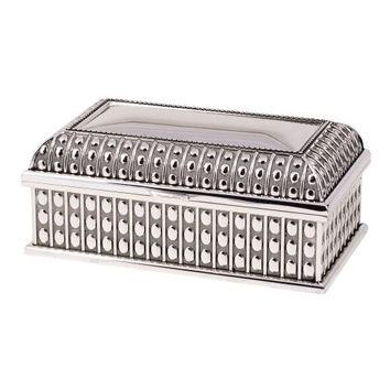 """7"""" Beaded Antique Rectangular Silver Plated Hinged Jewelry Box"""
