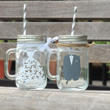 wedding mason mug, bride and groom mason mug, wedding mason jars, bride mason jar, mason jar with lace, glass mason mug