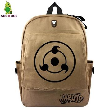 Anime Backpack School kawaii cute Naruto Sharingan Backpack for Teenage Girls Boys Vintage Canvas School Backpack Multifunction Headphone Jack Travel Bags AT_60_4