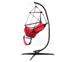 Sunnydaze Decor Red Hanging Hammock Chair with Stand