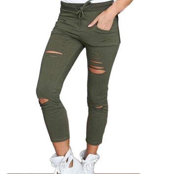 Womens Ripped Skinny Denim Jeans Cut High Waisted Jegging Trousers Skinny High Waist Stretch Ripped Slim Pencil  Pants W02