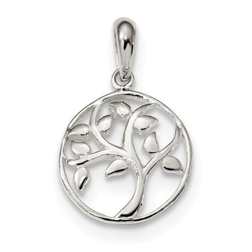 Sterling Silver Small Round Tree Pendant
