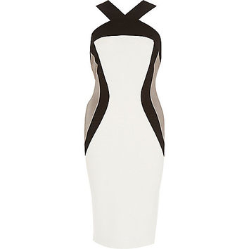 River Island Womens White panelled wide strap bodycon dress