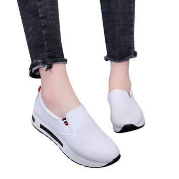 Women Flat Thick Bottom Shoes Slip On Ankle Boots Casual Platform Sport Shoes scarpe donna sneakers #L4