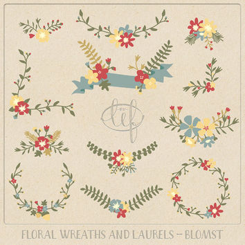 Hand drawn Flower Clip Art Flower Wreaths and Laurels and a Banner. Floral set for creating cards invitations, wedding themes, scrapbooking