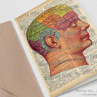 Phrenology head chart greeting card with envelope-Invitation-Stationery card - 4x6 inches- design by NATURA PICTA NPGC065