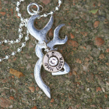 Browing necklace, browning jewelry, Deer head head necklace, hunters look! 9 mm Bullet jewelry, redneck jewelry