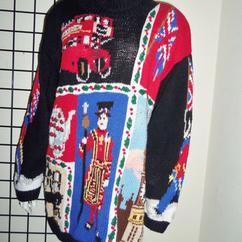 Ugly Christmas Sweater Turtleneck Eagles Eye London England UK Theme