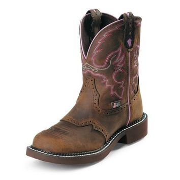 "Justin Women's Aged Bark 8"" Gypsy Round Steel Toe Boot"