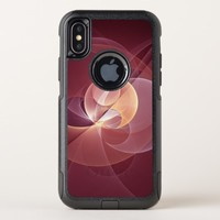 Movement Abstract Modern Wine Red Pink Fractal Art OtterBox Commuter iPhone X Case