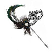 Simone Black Laser Cut Peacock Feather Women's Masquerade Stick Mask - B-0225B-S