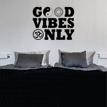 Good Vibes Only Version 2 Yin Yang Flower Design Quote Decal Sticker Wall Vinyl