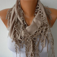 ON SALE - Beige Scarf  -  Pashmina Scarf  - Cowl Scarf - Shawl with Lace Edge - Dark Beige