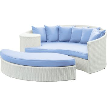 Modern Patio Furniture Taiji Daybed White Light Blue Cushions