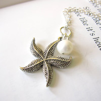 Antique Silver Starfish Necklace with swarovski pearl - Cute starfish necklace for starfish or beach lovers FREE SHIPPING