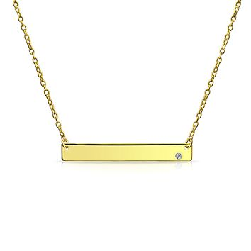 Sideways Bar Name Plated Pendant Necklace 14K Gold Plated