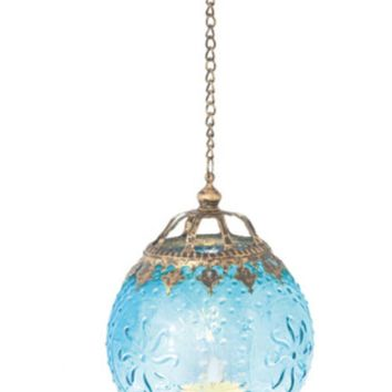 "6.25"" Aqua Blue Chic Bohemian Glass Tea Light Candle Holder Lantern"