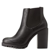 Black Lug Sole Chunky Heel Chelsea Boots by Charlotte Russe