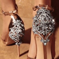 Majesty Open Toe Embellished Crystal Sandal Pump