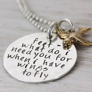 Wings To Fly - Hand Stamped Sterling Silver Jewelry - Inspirational Necklace - Brass Sparrow Charm - Christina Guenther