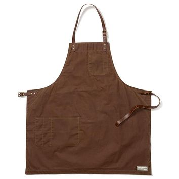 BOND ST. BIB APRON, BROWN WAXED CANVAS