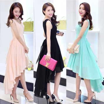 Quality Irregular 2016 dovetail women dress bohemia  beach dress chiffon young lady dress