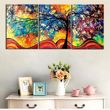 Canvas HD Prints Paintings Home Decor Living Room Framework 3 Pieces Color Abstract Life Trees Pictures Modular Posters Wall Art