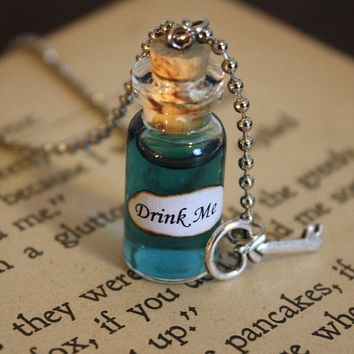 Alice in Wonderland Drink Me Vial Necklace