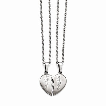 Stainless Steel Brushed 1/2 Heart Mother/Daughter Necklace Set