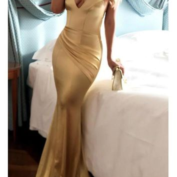 New Golden Pleated Deep V-neck Cross Back Mermaid Elegant Prom Evening Party Maxi Dress