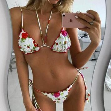 PEAPIH3 Sexy show body halter white red floral print two piece bikini bottom side knot swimsuit