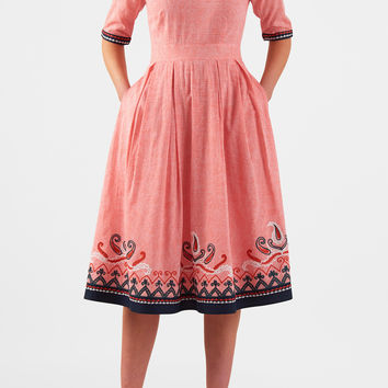 Paisley embellished voile sweetheart dress