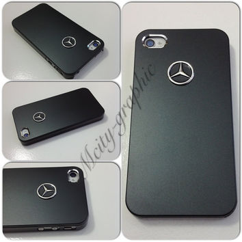 USA iPhone 4 / 4S  Case Mercedes - Benz  Sport Car Carbon Aluminum metallic Cover  - Black