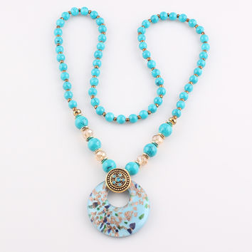 Fashion unique round pendant lampwork Murano art glass beaded pendant necklace Simulated Turquoise Necklace JJAL N168